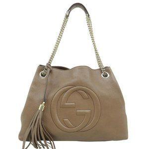💯 Auth Gucci Soho Chain Calfskin Shoulder Bag